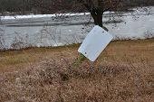 A Blank Sign Out In Nature. Could Show How Nothing Is That Important Out In Nature, Or Could Be Used poster
