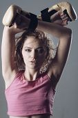 Fitness Trainer Or Sportive Lady Rest After Boxing, Hard Training. Woman Coach With Mysterious Face  poster