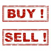 Buy And Sell Rubber Stamp Texture. Vector Buy And Sell Seal Red, Illustration Of Consumerism, Stimul poster