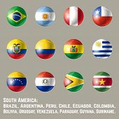 South America Flags. Glossy Round Button Flag Set. Vector Illustration. poster
