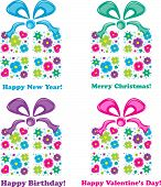 Four gifts and four holidays, vector illustration