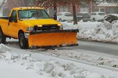 Snow Plough Truck Clearing Road After Whiteout Winter Snowstorm Blizzard For Vehicle Access Snow Bli poster