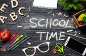 School Time, An Inscription On A Dark School Board, A Wooden Table Of Black Boards. Concept Of Schoo poster