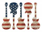 Five Guitars Shaped Old Grunge Vintage Dirty Faded Shabby Distressed American Us National Flag Isola poster