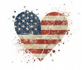 Heart Shaped Old Grunge Vintage Dirty Faded Shabby Distressed American Us National Flag With Bang Sp poster