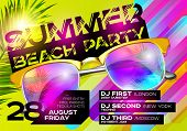 Summer Beach Party Poster For Music Festival. Electronic Music Cover Design For Summer Fest Or Dj Pa poster