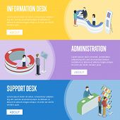 Administration And Support Desk Isometric Horizontal Flyers. Need Help And Need Information Concepts poster