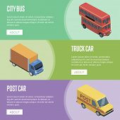 City Transport Isometric Horizontal Flyers With Public Bus, Post Car And Freight Truck. Modern Urban poster