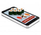 Sushi Order Using Smartphone Or Tablet. Order Sushi Online. Sushi And Smartphone Isolated On White B poster