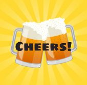 Cheers Beer Poster With Beer Mugs. Toasting Glasses Of Beer Symbol For Bar Or Pub Menu Design. Natur poster
