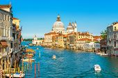 Grand Canal In Venice On A Sunny Day, Italy. Venice In The Sunlight. Scenic Panoramic View Of Venice poster