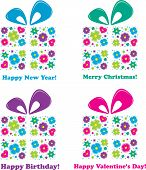 Four gifts - four holidays, vector illustration