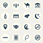 Religion Icons Set With Mosque, Isha, Religion And Other Beads Elements. Isolated Vector Illustratio poster