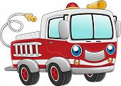 stock photo of fire truck  - Illustration of a Firetruck Ready for Action - JPG
