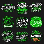 St Patrick Day Party Icons For Irish Traditional Holiday. Vector Isolated Symbols Of Green Shamrock  poster
