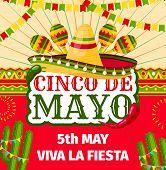 Cinco De Mayo Fiesta Invitation Card For Mexican Holiday Party Celebration. Vector Entry Flyer Desig poster