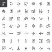 Chemistry Elements Outline Icons Set. Linear Style Symbols Collection, Line Signs Pack. Vector Graph poster
