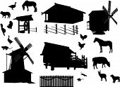 illustration with set of village buildings and animals isolated on white background