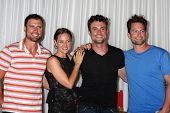 LOS ANGELES - AUG 27:  Joshua Morrow, Sharon Case, Daniel Goddard, Michael Muhney attending the Daniel Goddard Fan Event 2011 at the Universal Sheraton Hotel on August 27, 2011 in Los Angeles, CA