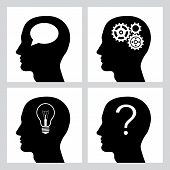Set Of Four Icons With Human Profile. Head Silhouette With Gears, Bulb, Question And Speech Bubble.  poster