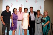 LOS ANGELES - AUG 26:   B Miller, A Heinle, J Douglas,Sharon Case, P Bergman, Jess Walton, B Maitland  at the Y&R Fan Dinner 2011 at the Universal Sheraton Hotel on August 26, 2011 in Los Angeles, CA