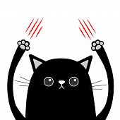 Cartoon Black Cat Claw Scratching. Red Bloody Scratch. Funny Face Head. Eyes, Nose, Paw Print Hand U poster
