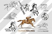 Set Of Horse Racing. Jockey On Racing Horse Running To The Finish Line. Race Course poster