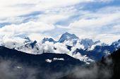 Aerial View Of Cordillera Huayhuash Mountain Range In Peru Near Chiquian In Central Peru. poster