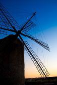 image of mola  - balearic islands windmill at sunset in Formentera La Mola - JPG