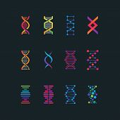 Human Dna Research Technology Symbols. Spiral Molecule Medical Bio Tech Vector Icons. Research Chemi poster