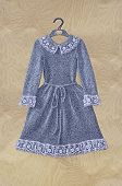Winter Grey Woolen Dress For Little Girl With Lace Collar, Cuffs And Edging On The Skirt On The Plyw poster