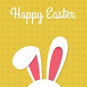 Happy Easter Card With Rabbit Ears. Easter Rabbit For Easter Holidays Design. Easter Bunny Vector Il poster