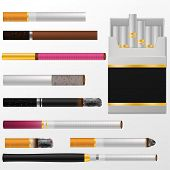 Cigarette Vector Cigar With Nicotine In Cigarette-box Or Cigar-case And Smoking Tobacco Illustration poster