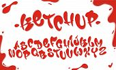 Tomato Ketchup Font Set With Reds Drops Isolated On White Background. English Alphabet Set Made Of S poster