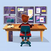 Vector Cartoon Male Trader, Financial, Data Analyst Character Sitting Monitoring Graph Diagram Chart poster