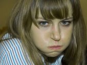 picture of puke  - young sick woman feeling sick and is green in the face - JPG