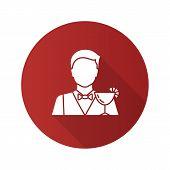 Barman Flat Design Long Shadow Glyph Icon. Bartender, Barkeeper. Vector Silhouette Illustration poster