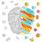 Left And Right Brain Functions Concept, Analytical And Creativity poster
