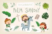 Jesus Riding A Donkey Entering Jerusalem. People Greeting Him With Palm Branches And Shouting Hosann poster