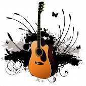 stock photo of acoustic guitar  - Vector  - JPG