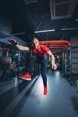 Athlete Trains In The Gym. Athlete Flies poster