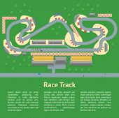 Cartoon Race Track With Cars And Landscape Card Poster Auto Competition Topography Concept Flat Desi poster