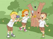 Illustration of Kids Exploring a Camp