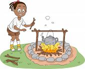 Illustration of a Kid Boiling Water