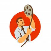 Retro Style Illustration Of A Film Editor Holding A Film Canister Looking At Film Reel And Editing R poster
