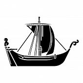 Pirate Ship Icon. Simple Illustration Of Pirate Ship Vector Icon For Web poster
