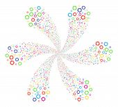 Multi Colored Cogwheel Cycle Twist. Hypnotic Flower Designed From Random Cogwheel Symbols. Vector Il poster