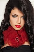 Gorgeous Brunette Woman In Red Fashion Collar. Fashion Portrait Of Brunette Hair Model poster