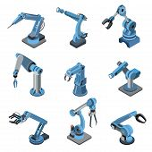 Industrial Robot Manipulator Isometric Set. Robotic Arm For Assembly Line Vector Illustration. Produ poster