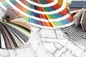 palette of colors designs for interior works, samples of plastics, PVC, for furnishing, artificial s